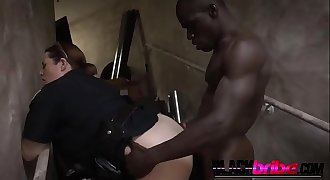 Lustful busty cops want their asses penetrated by a rock hard black dong